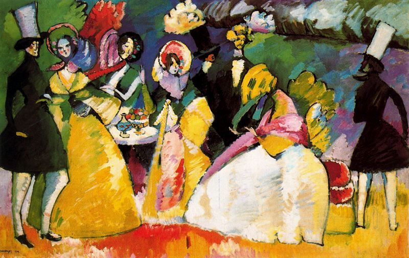 Kandinsky Group In Crinolines 1909 Huile Sur Toile Guggenheim