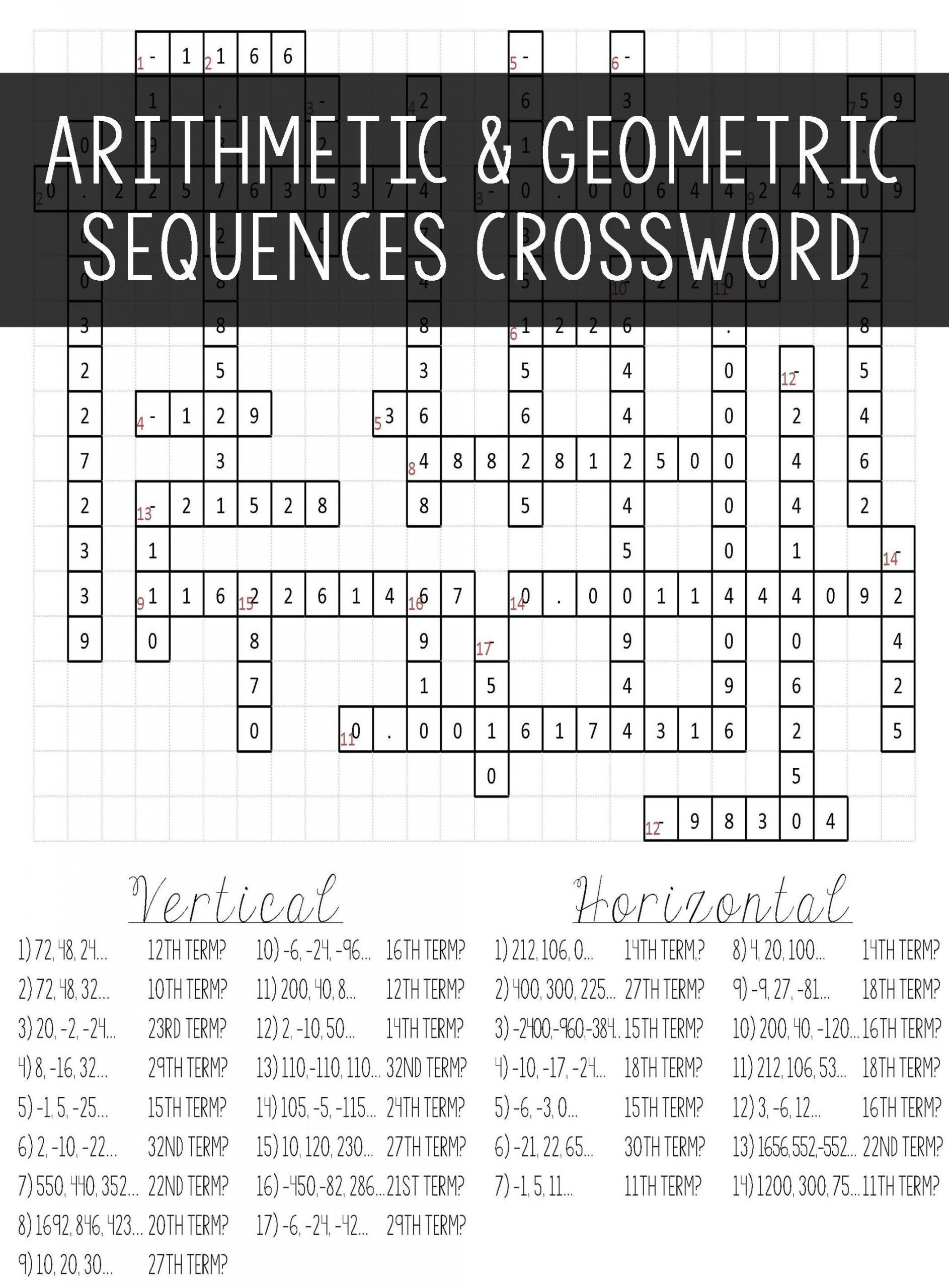 Arithmetic And Geometric Sequences Worksheet Arithmetic Geometric Sequences Crossword Puzzle Activity In 2020 Arithmetic Sequences Geometric Sequences Arithmetic
