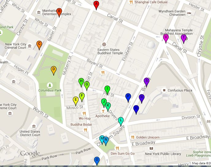 Free walking tour self guided: Tour of Chinatown New York Map