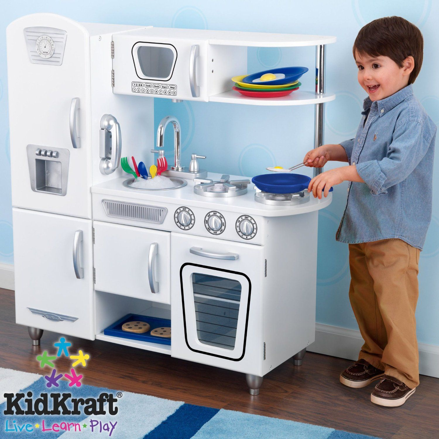 Amazon.com: KidKraft Vintage Kitchen   White: Toys U0026 Games $129.00