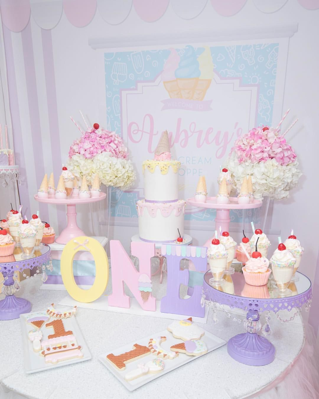 Ice Cream Theme 1st Birthday Photography By Shamemoriesphotography 1stbirthday I Ice Cream Birthday Party Ice Cream Birthday Party Theme Party Cake Table