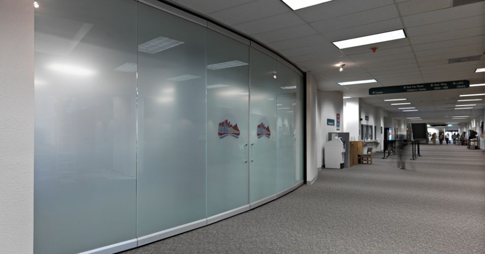 Frosted Frameless Glass Wall At Denver Community College
