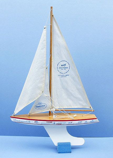 """A promotional model for the BT """"Global Challenge"""" yacht race by Skipper Yachts."""