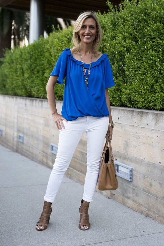 37c45f57d74b White Eyelet Jacket Styled With Royal Blue Off The Shoulder Top ...