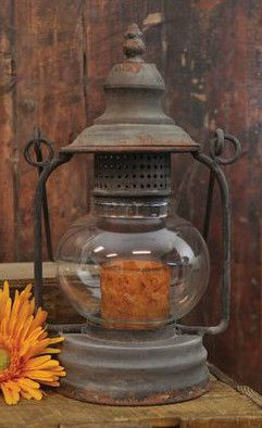Primitive Antiqued Beautiful Candle Holder Lantern 11 5
