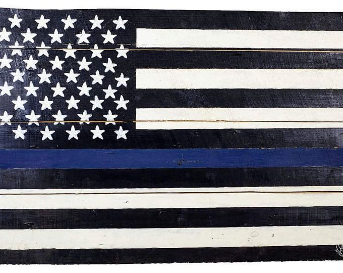 Shiplap American Flag Wall Art Thin Blue Line American Flag Wall Art Art American Flag