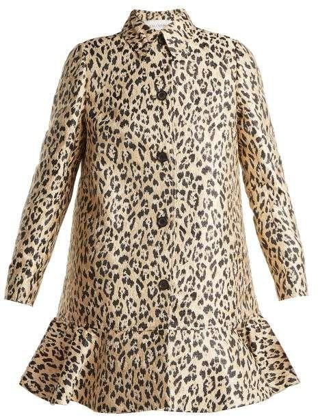 baa86f133ce Valentino - Leopard Print Brocade Coat - Womens - Leopard | Threads ...
