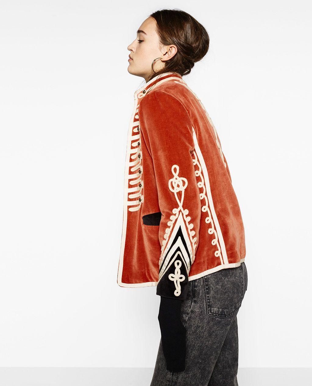 Velvet Military Jacket Jackets Outerwear Woman Zara United States Military Fashion Jackets Military Jacket [ 1269 x 1024 Pixel ]