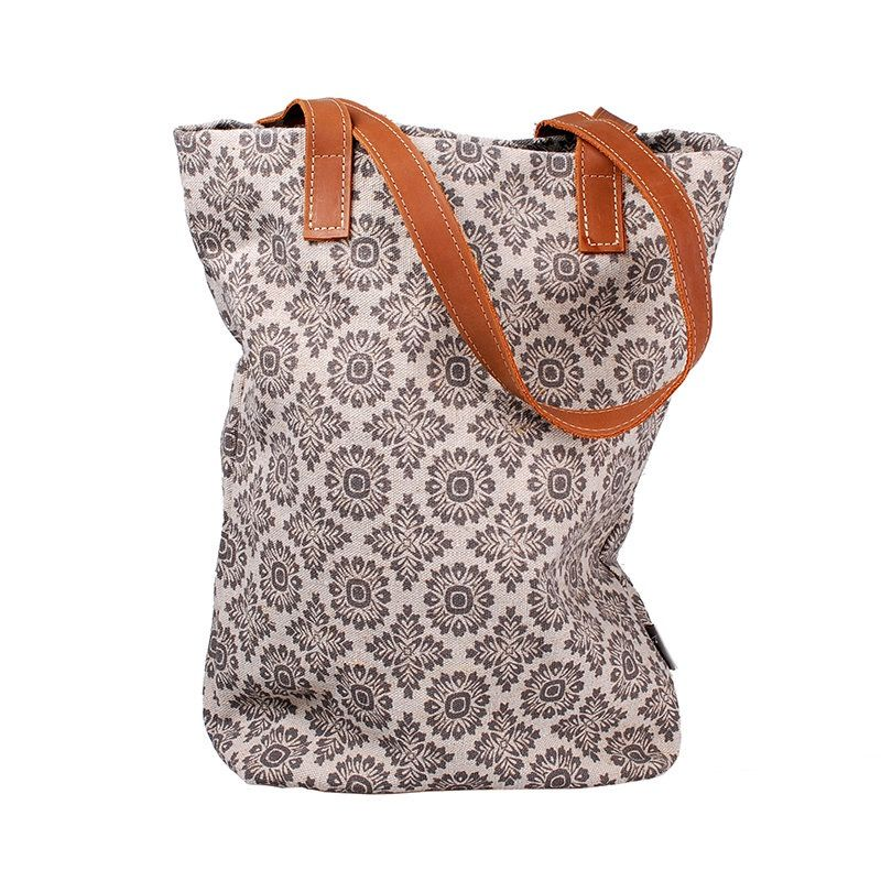 c66518298a23b Tasche aus handbedrucktem Leinen Leder