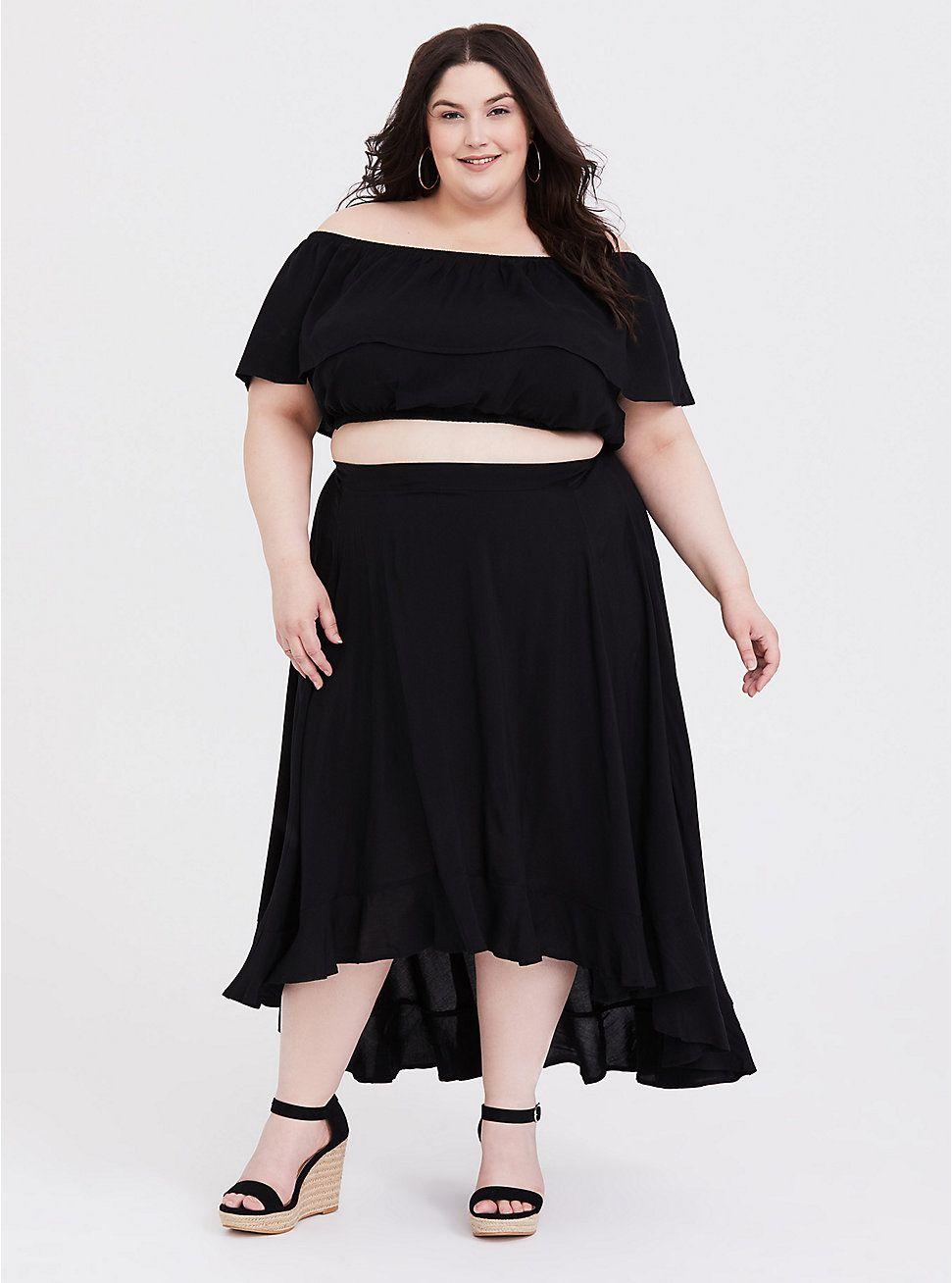 Black Challis Off Shoulder Crop Top Hi Lo Skirt Set Skirt