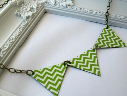 Chevron Green Bunting Necklace