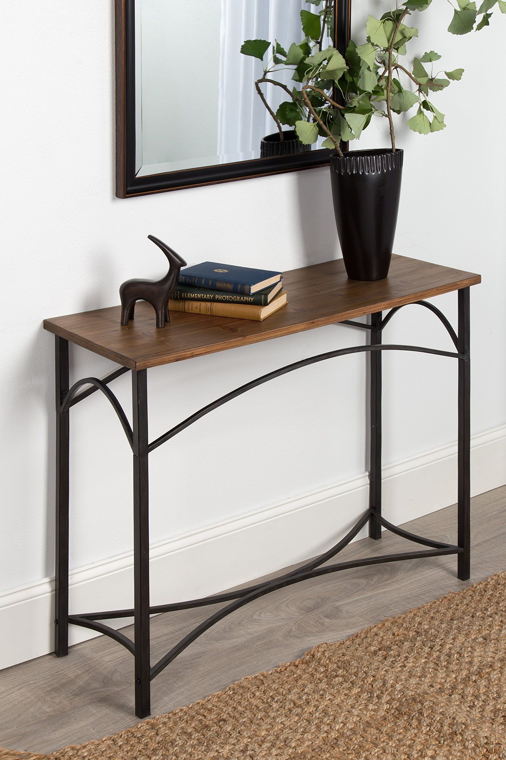 Kate and laurel strand console table rustic wood top with iron legs