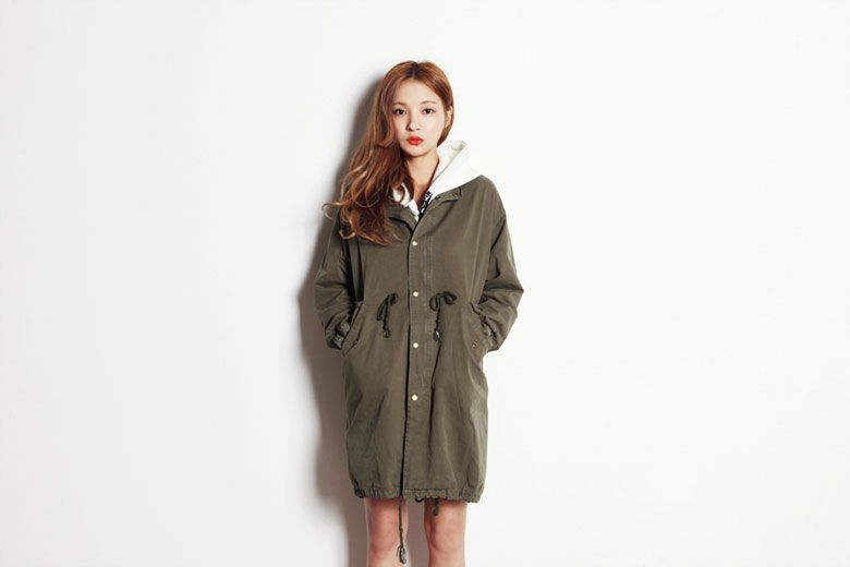 High Neck Snap Button Coat