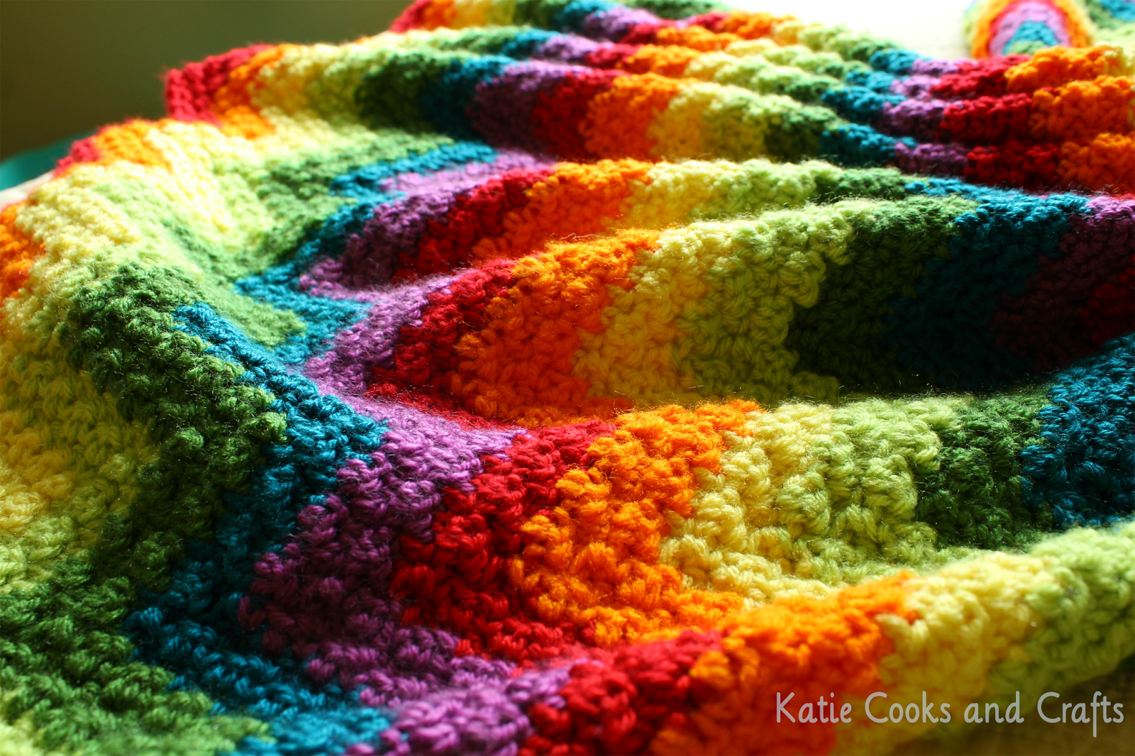 Katie Cooks and Crafts: Rumpled Ripple Rainbow Crochet Baby Afghan ...