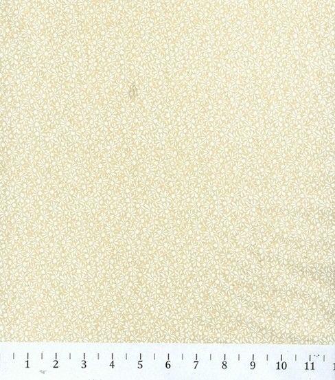 Keepsake Calico Cotton Fabric-Ivory/White Leaf Flower