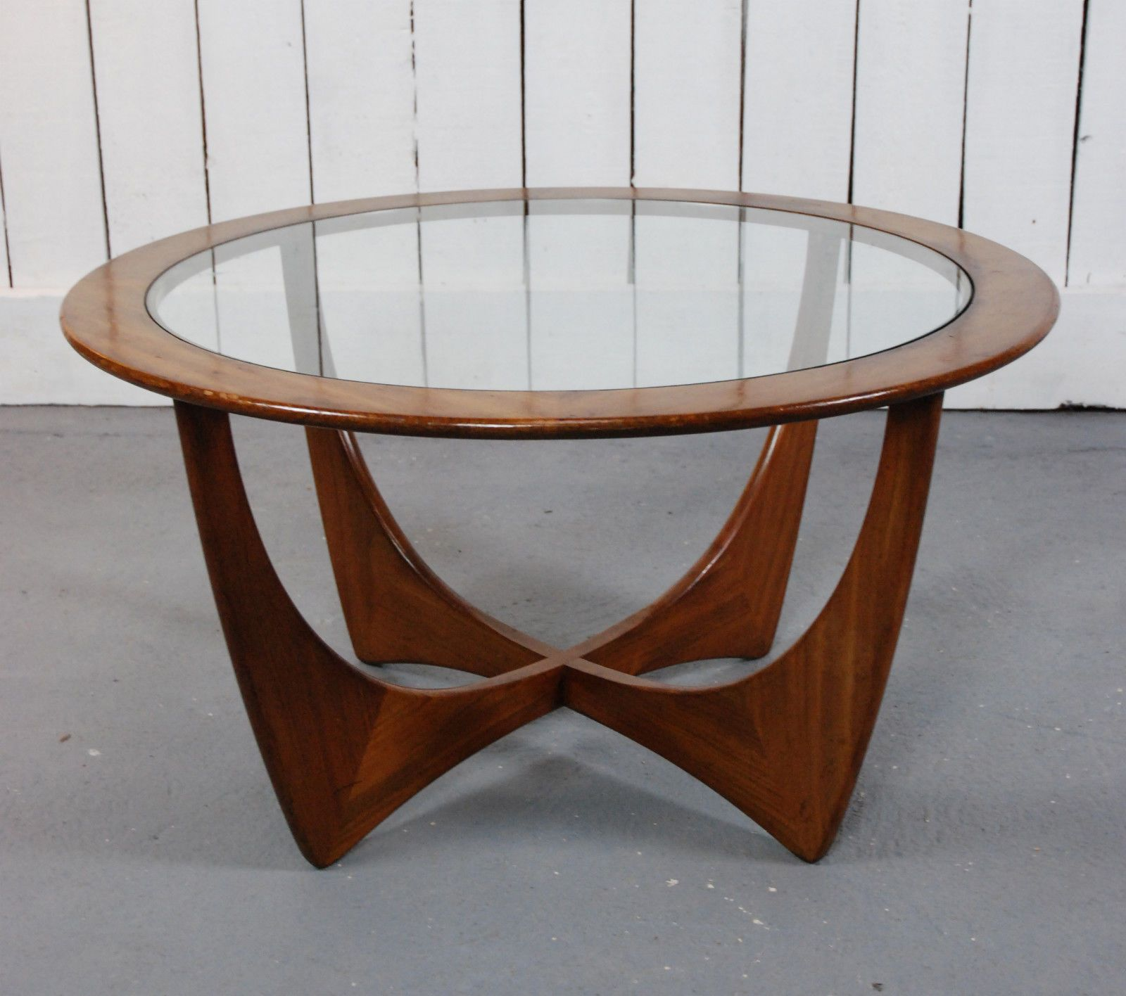 Retro light teak circular glass top coffee table nest of tables by - Retro Teak G Plan Astro Coffee Table Vintage Danish Style Round Glass