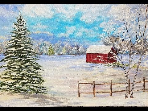 Snowy winter landscape with red barn acrylic painting for Landscape paintings for beginners