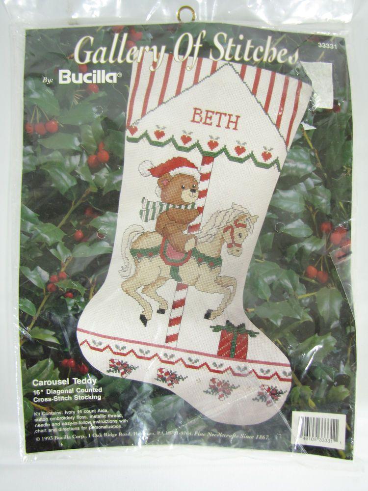 "Bucilla Carousel Teddy 16"" Christmas Stocking Cross Stitch Kit - Horse,Santa Hat…"