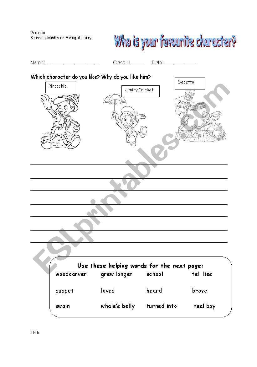 Pinocchio Story Worksheet Reading Worksheets Worksheets Pinocchio [ 1169 x 821 Pixel ]