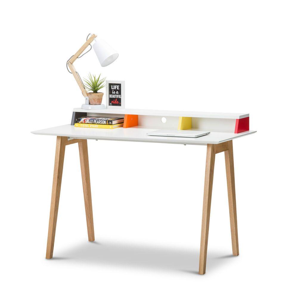 Modern Retro White Scandinavian Design Student Kids Home Office Desk W Oak Legs Ikea Wood Desk Wood Desk Chair Scandinavian Style Desk