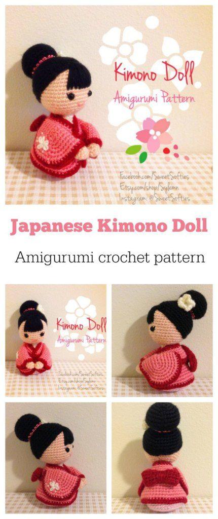 Crochet Kimono Doll Pattern Amigurumi Of The Week | Tejido, Patrones ...