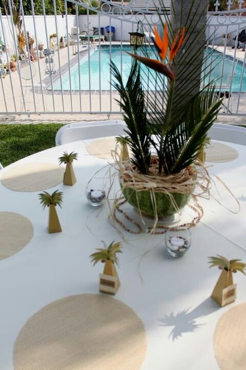 Luau Table Setup, Engagement Party