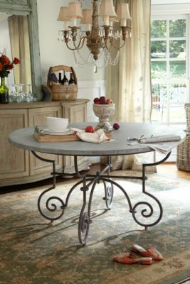 La Sorgue Dining Table Soft Surroundings Zinc Wrapped Table With Wrought Iron Base 55 Dia X 30 H Accent Tables Cabinets