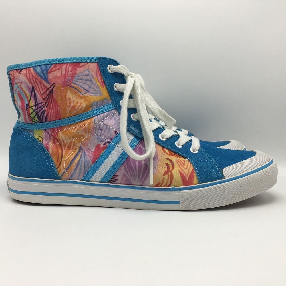 10b1234ad7410b Vans Wellesley Kime Buzzelli Hi Tops Blue Geometric Multi Suede Cotton Womens  9