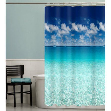 Maytex Escape Photoreal Peva Shower Curtain Size 70 Inch X 72 Inch Beach Shower Curtains Vinyl Shower Curtains Shower Curtains Walmart