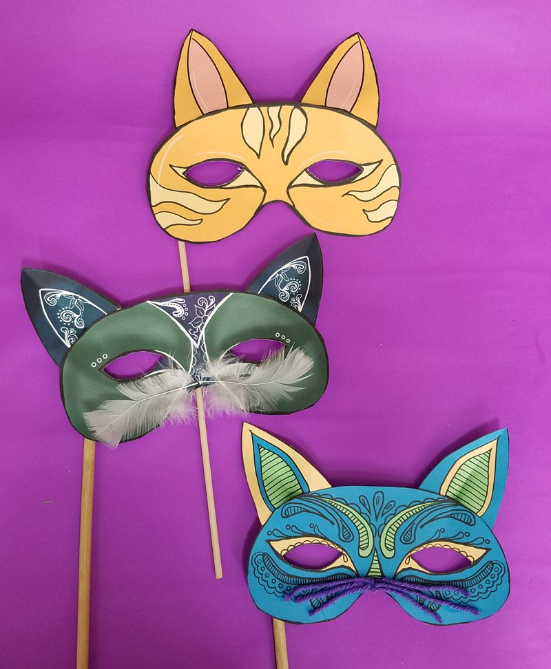 Color in these beautiful cat masks!   Cat mask, Crafts for ...