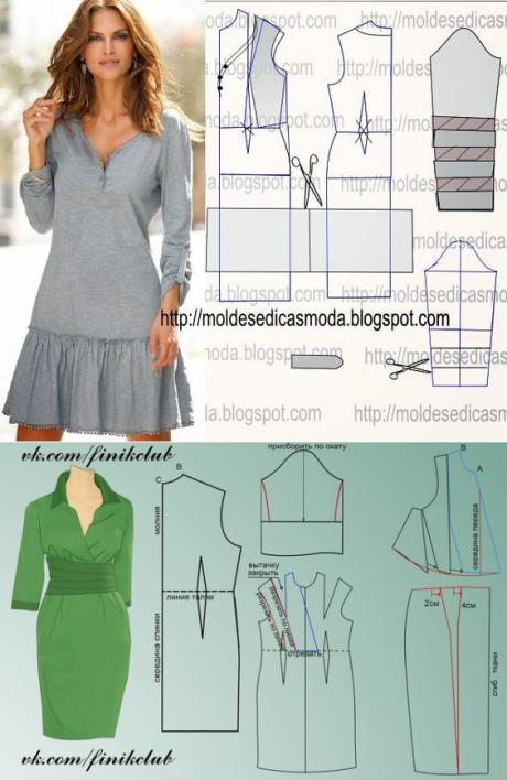 Los patrones simples de los vestidos elegantes | Patrones costura ...