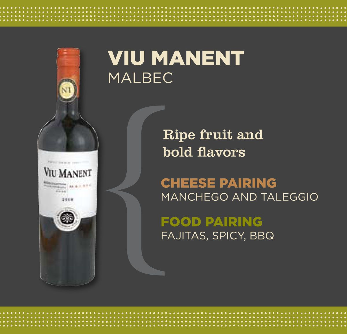 Viu Manent Malbec Wine Combines Bold Flavors To Compliment Texas Staples Bbq Spicy Food Fajitas Spicy Recipes Wine Suggestions Favorite Wine