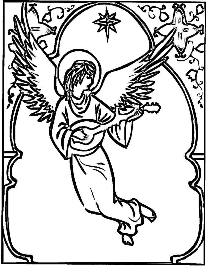 Christmas Angel Coloring Page | Coloring pages for kids | Pinterest ...