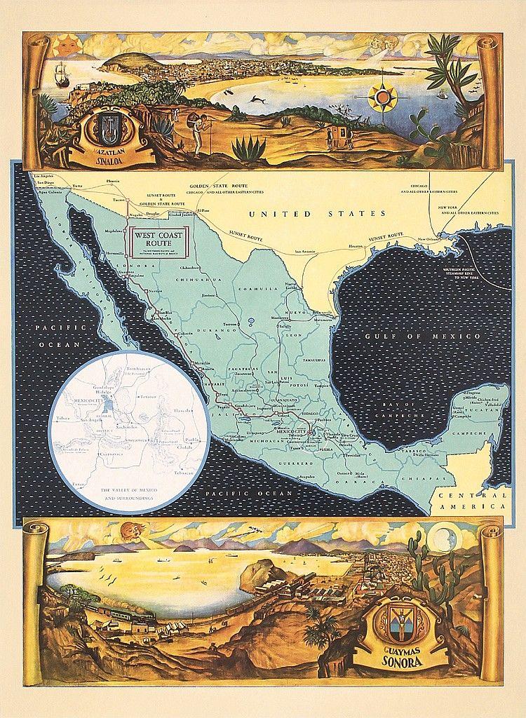 Original 1930s Mexico West Coast Travel Map Poster | Travel ...