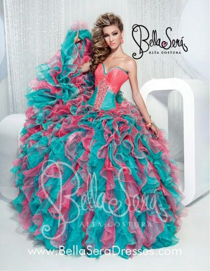 2980a82cf59 Beautiful quinceanera dress colors pink and turquoise very beautiful ...