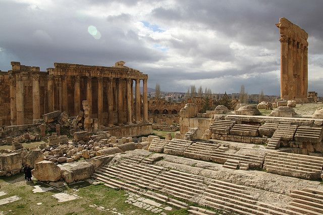 Lebanon, Baalbeck, Temple of Bacchus and Temple of Jupiter