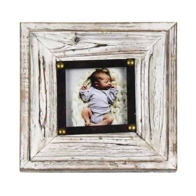 Fetco Henrick Rustic White 4 In X 4 In Picture Frame Set Of 2