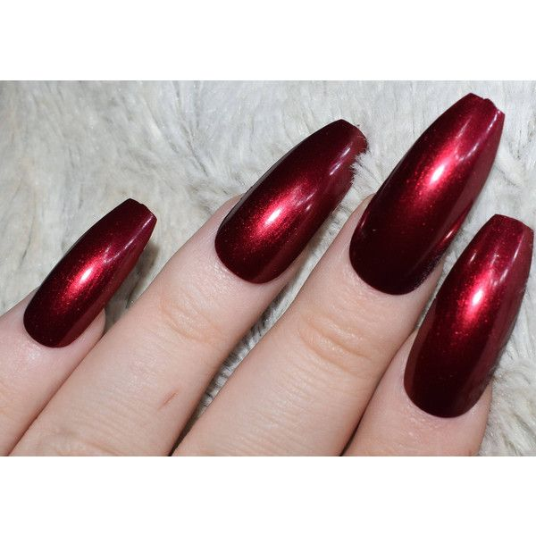 Dark Red Fake Nails, Long Coffin False Nails, Hand Painted Press On ...