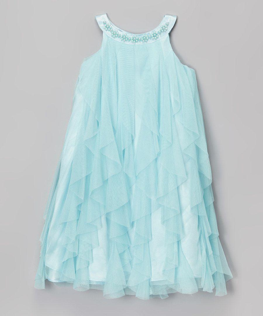 Look at this Kid\'s Dream Aqua Waterfall Dress - Girls on #zulily ...