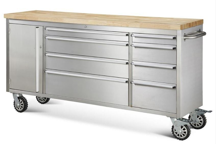 72 Stainless Steel Rolling Tool Cabinet W Wood Top Features 430 Anti Fingerprinting 8 Drawers Rubber On 100 Lbs Drawer Slide 2 Side