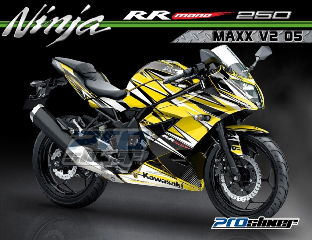 Beau Modifikasi Kawasaki Ninja RR Mono 250cc Warna Kuning Motif Grafik MAXX V2  08 Kuning Hitam
