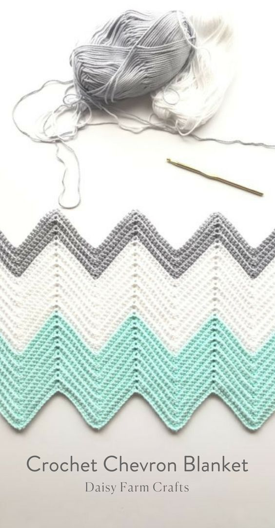 Free Pattern - Crochet Chevron Blanket   crochet   Pinterest   Manta