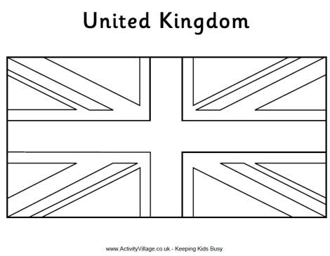Template Flag Coloring Pages Flag Printable United Kingdom Flag