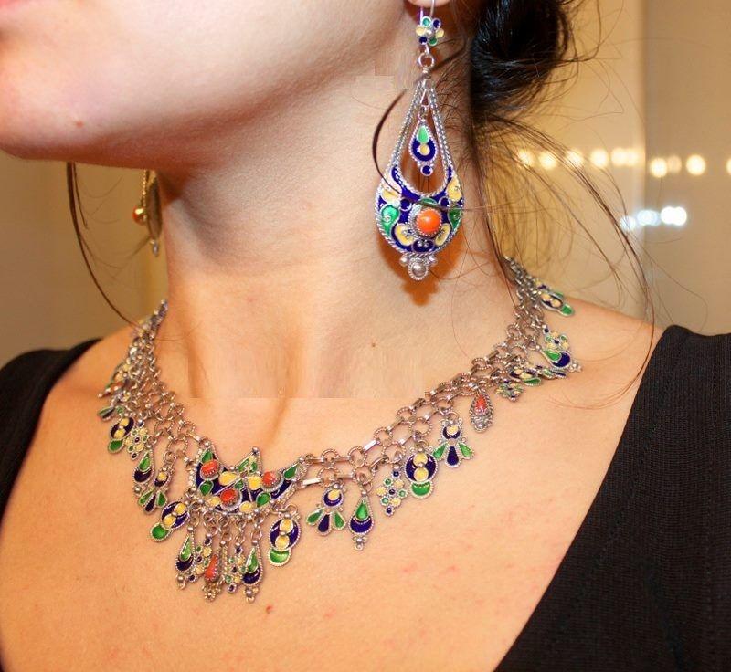 Bijoux Algerie Argent : Collier et boucle d oreille en argent berb?re bijoux