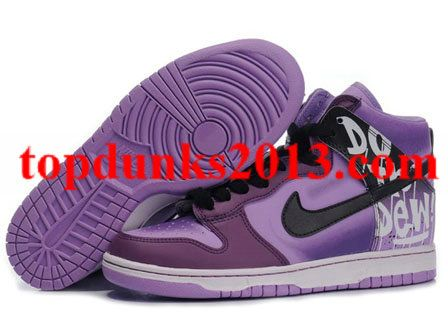 Genuine Custom Purple Black Do The Dew Nike Dunk Men High Top