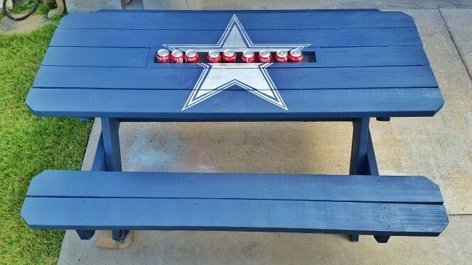Dallas Cowboys Picnic Table with built in drink cooler | My projects ...
