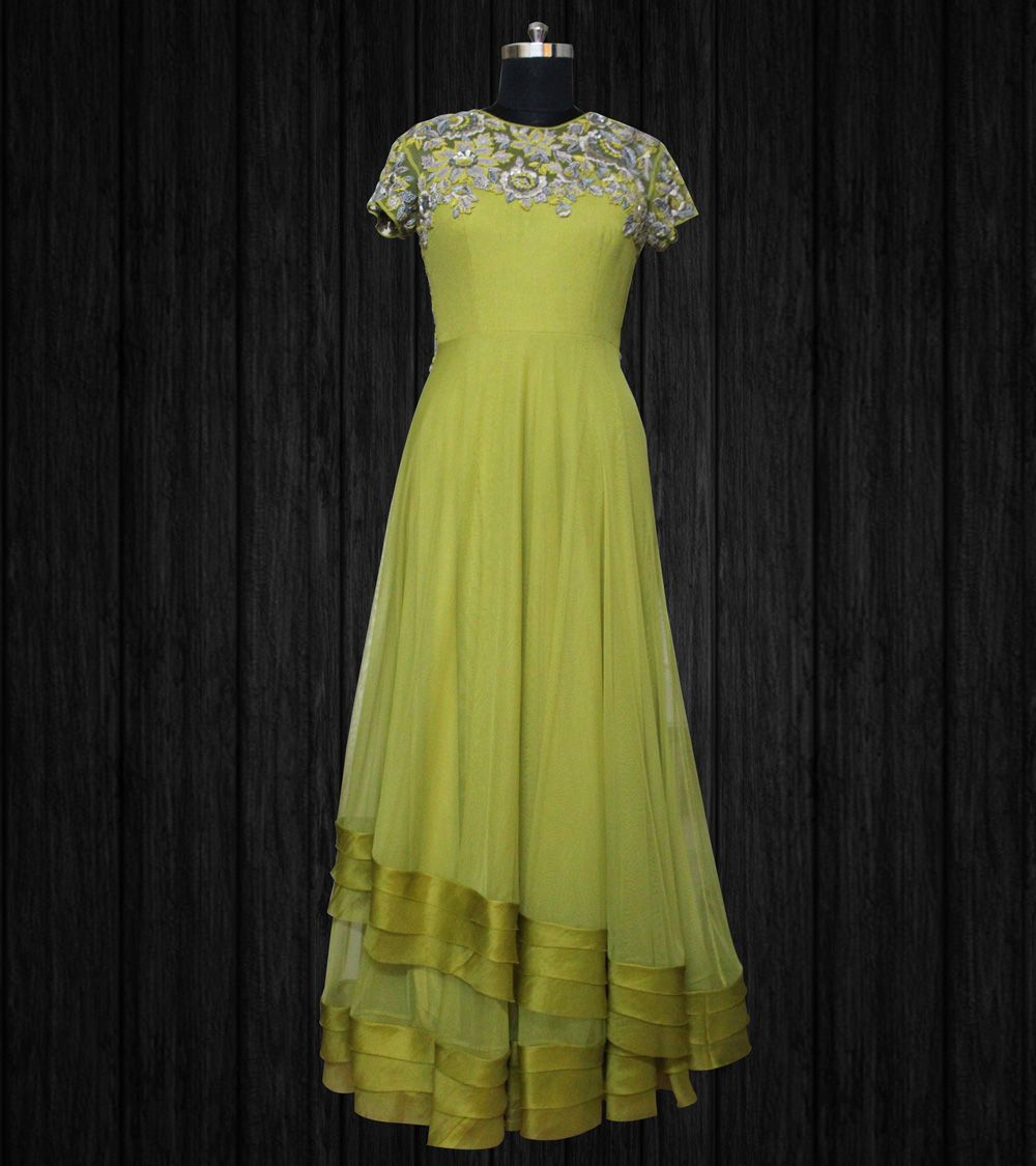Moss green long net dress with thread and sequins work by swapan