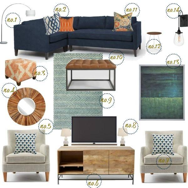 Teal, Navy, and orange Rustic Modern Living Room | Rehab home ...