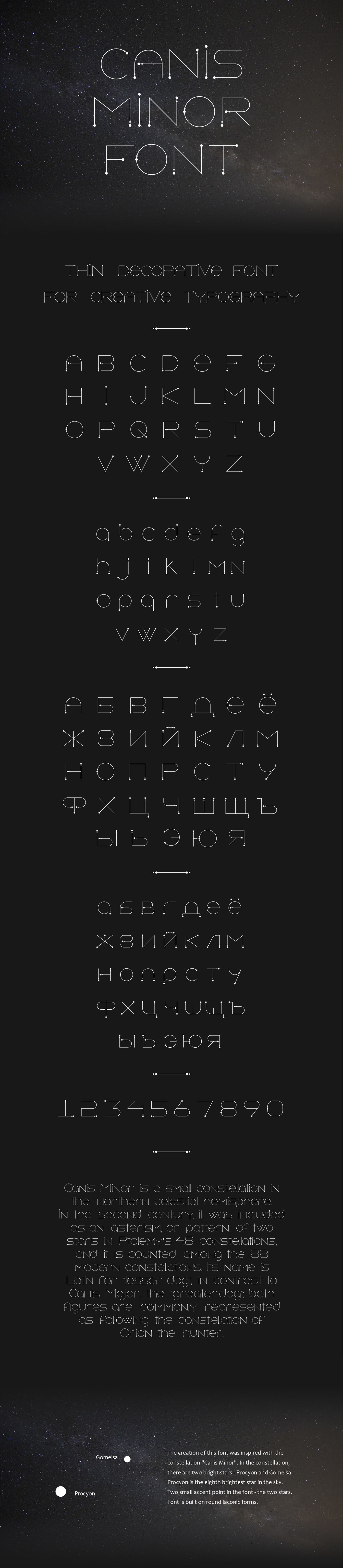 """The creation of this font was inspired with the constellation """"Canis Minor"""". In the constellation, there are two bright stars - Procyon and Gomeisa. Procyon is the eighth brightest star in the sky. Two small accent point in the font - the two stars. Font …"""