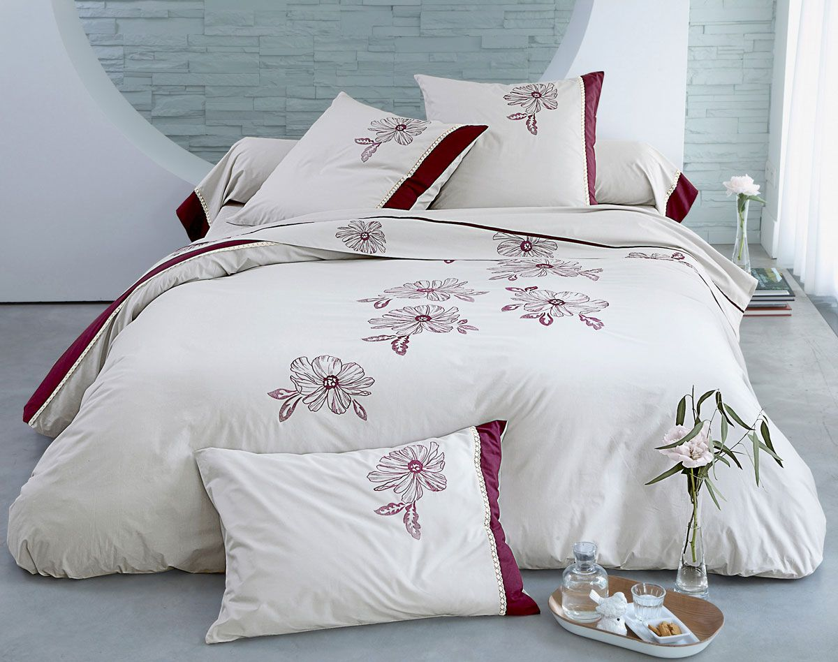 linge de lit percale brod fleurs et dentelle becquet pinterest linge de lit linge et broder. Black Bedroom Furniture Sets. Home Design Ideas